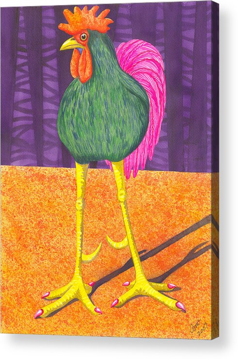 Rooster Acrylic Print featuring the painting Chicken Legs by Catherine G McElroy