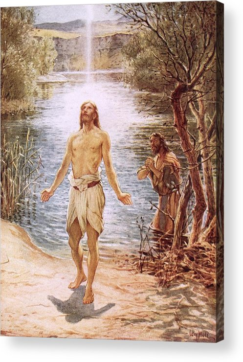 Christ Baptised By John The Baptist By William Brassey Hole (1846-1917)lake Acrylic Print featuring the painting Christ Baptised By John The Baptist by William Brassey Hole