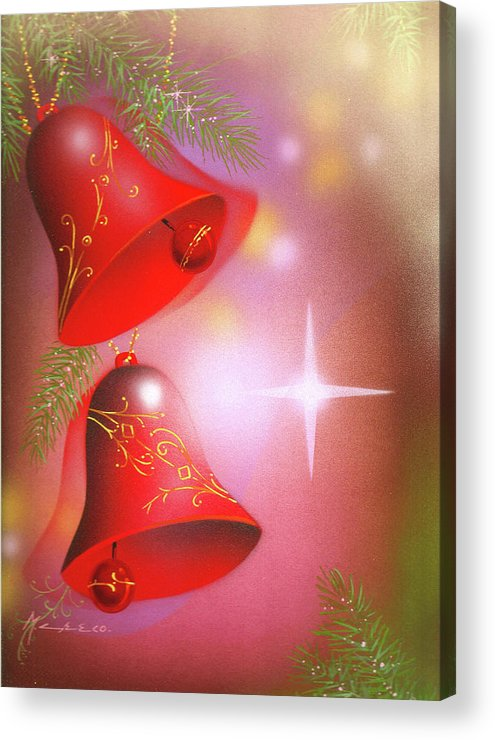 Nativity Acrylic Print featuring the painting Christmas Bells by Laura Greco