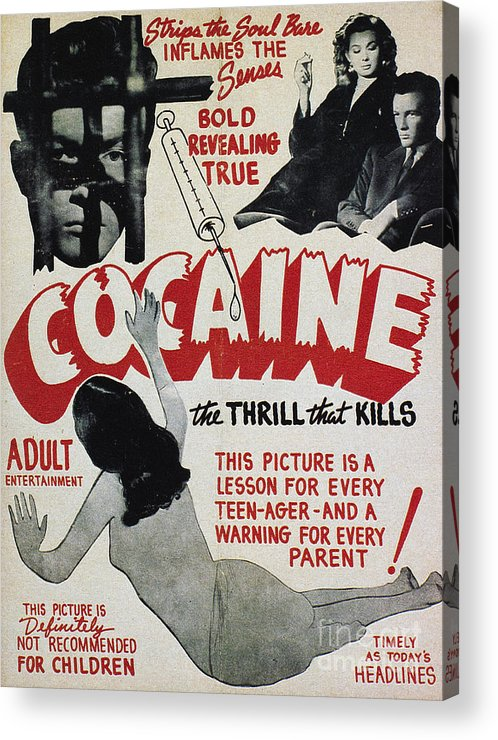 1940s Acrylic Print featuring the photograph Cocaine Movie Poster, 1940s by Granger