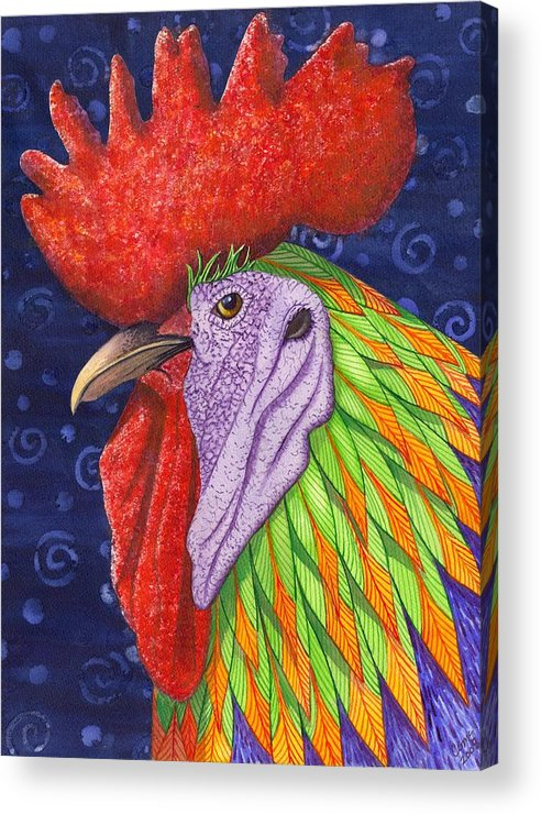 Rooster Acrylic Print featuring the painting Cock A Doodle Dude IIi by Catherine G McElroy