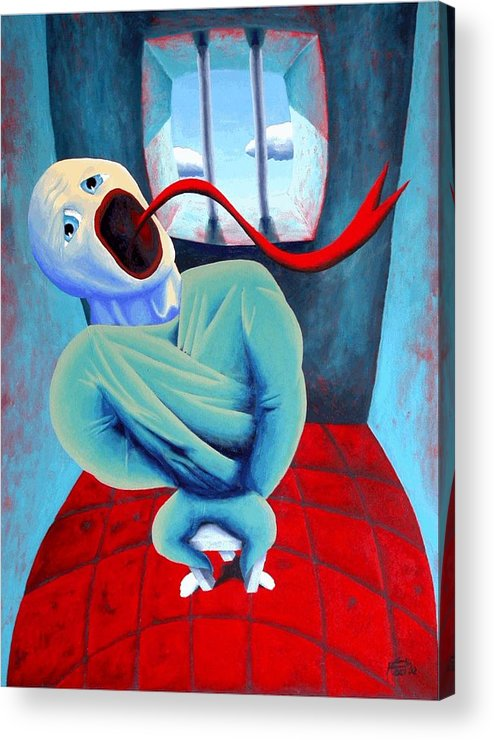 Scream Surreal Jail Dream Acrylic Print featuring the painting Confined by Poul Costinsky