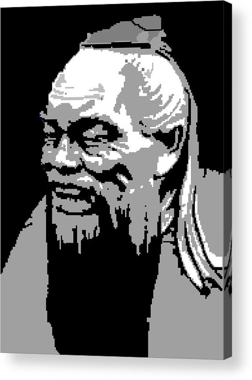 Acrylic Print featuring the digital art Confucius - Portrait By Asbjorn Lonvig by Asbjorn Lonvig