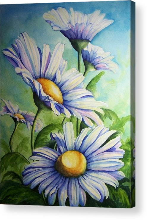 Floral Acrylic Print featuring the painting Daisy Blue by Conni Reinecke