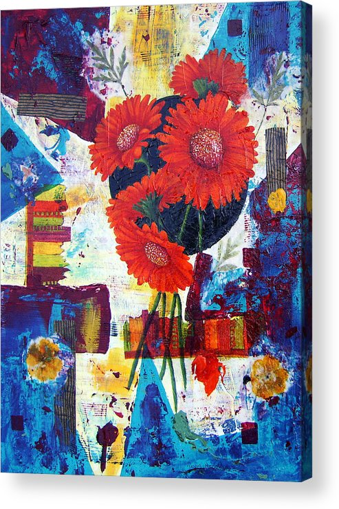Daisy Flower Red Abstract Modern Collage Mixed Media Acrylic  Acrylic Print featuring the painting Dance Of The Daisies by Terry Honstead
