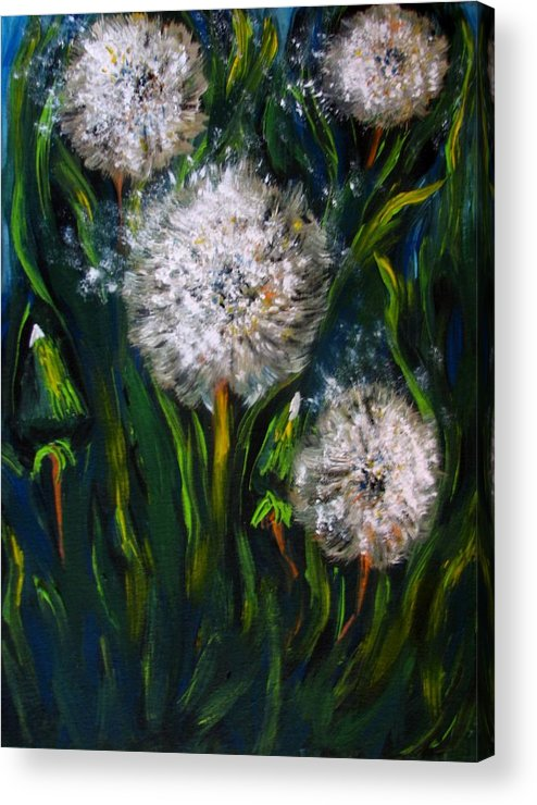Flower Art Acrylic Print featuring the painting Dandelions Acrylic Painting by Natalja Picugina