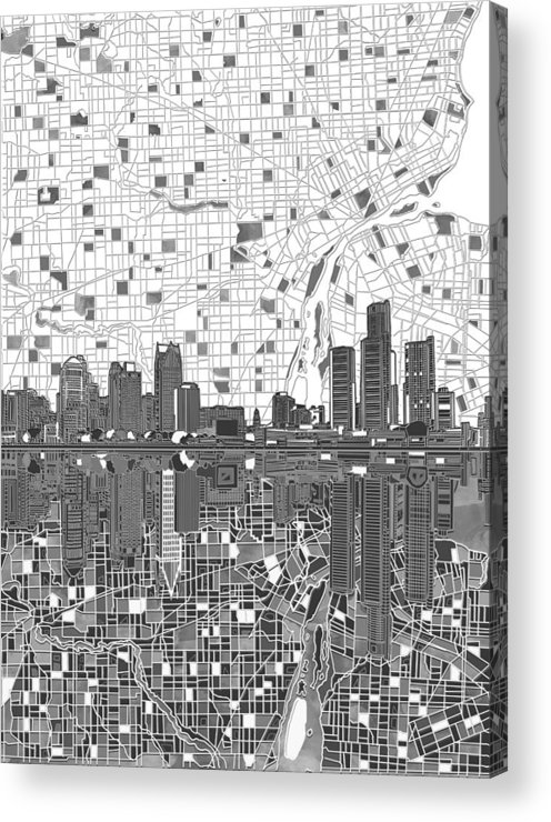 Detroit Acrylic Print featuring the painting Detroit Skyline Map 5 by Bekim M