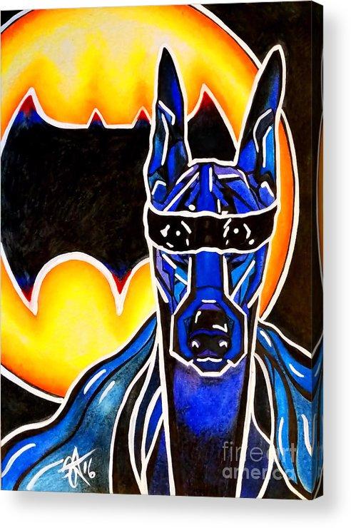 Doberman Acrylic Print featuring the painting Dog Superhero Bat by Jackie Carpenter