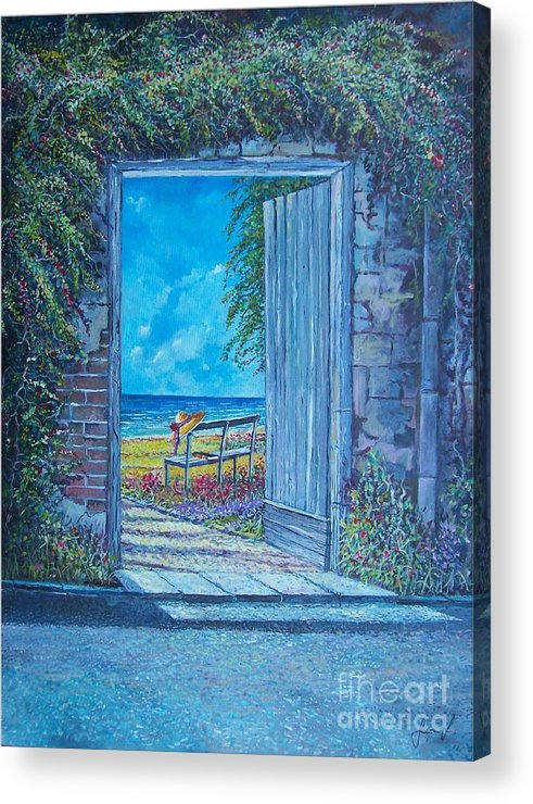 Original Painting Acrylic Print featuring the painting Doorway To ... by Sinisa Saratlic