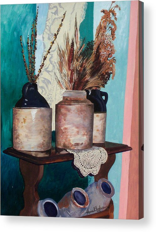 Still Life Acrylic Print featuring the painting Dorothy's Pots by Anne Rhodes