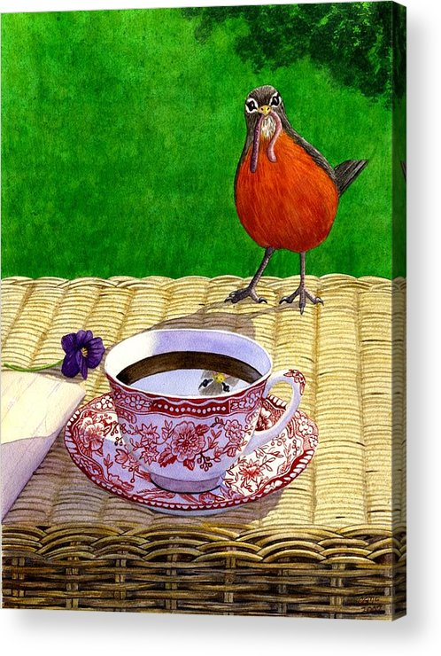 Robin Acrylic Print featuring the painting Early Bird by Catherine G McElroy