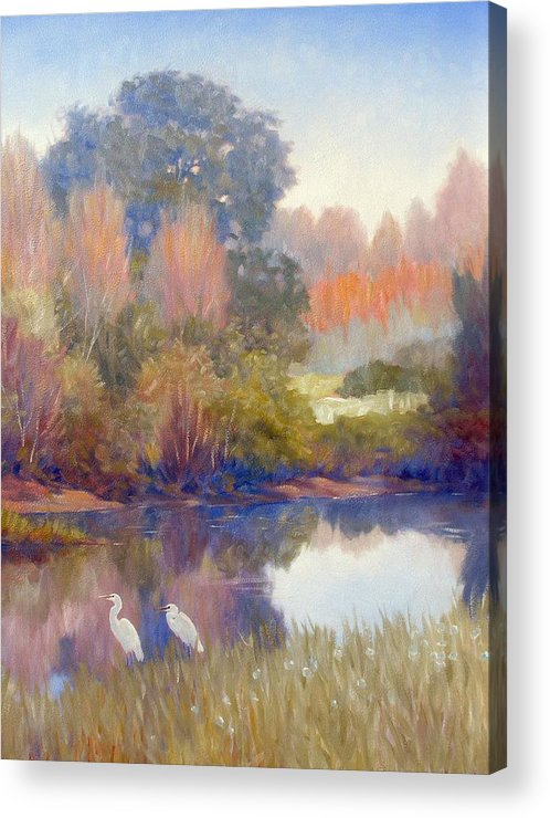 Egrets Acrylic Print featuring the painting Egrets by Kevin Lawrence Leveque