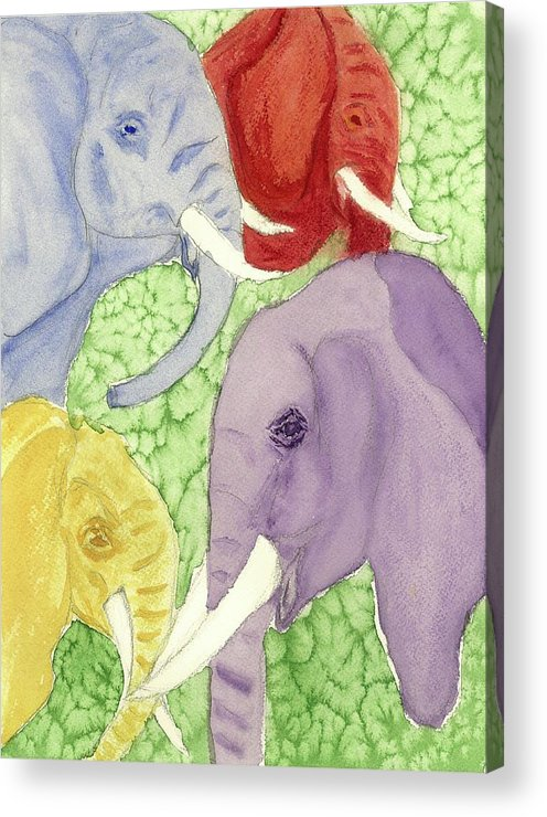 Animals Acrylic Print featuring the painting Elephants In The Room by Joan Zepf