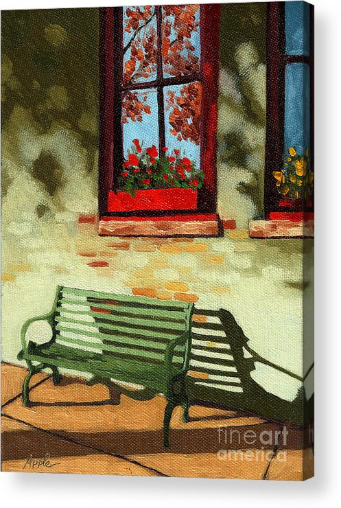 City Bench Acrylic Print featuring the painting Empty Bench by Linda Apple