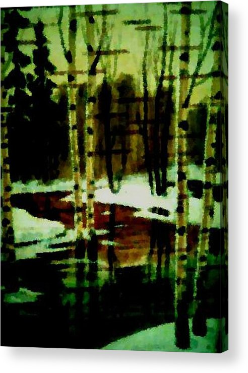 Sprig.forest.snow.water.trees.birches. Puddles.sky.reflection. Acrylic Print featuring the digital art European Spring by Dr Loifer Vladimir