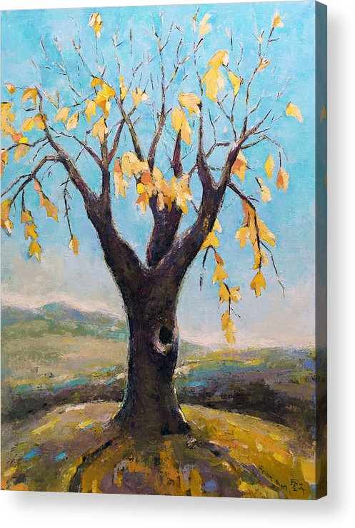Tree Acrylic Print featuring the painting Fall Tree In Virginia by Becky Kim