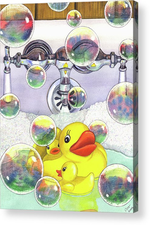 Bubbles Acrylic Print featuring the painting Feelin Ducky by Catherine G McElroy