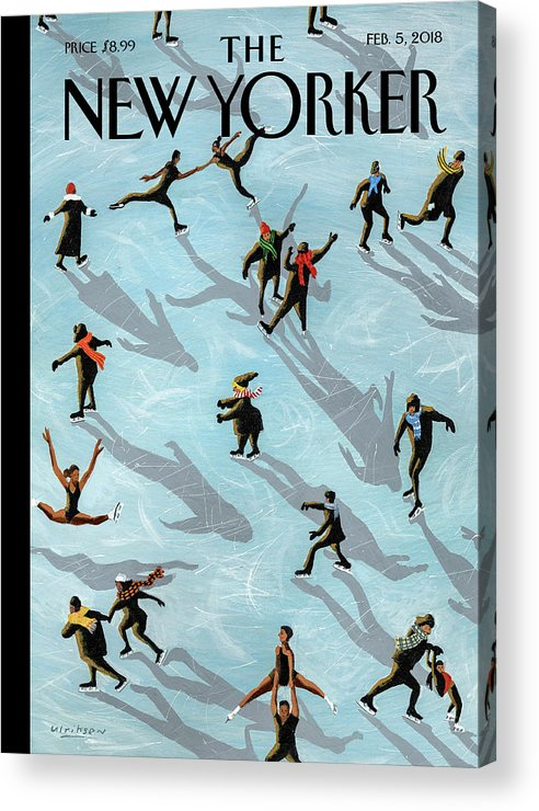 Figured Skaters Acrylic Print featuring the drawing Figured Skaters by Mark Ulriksen