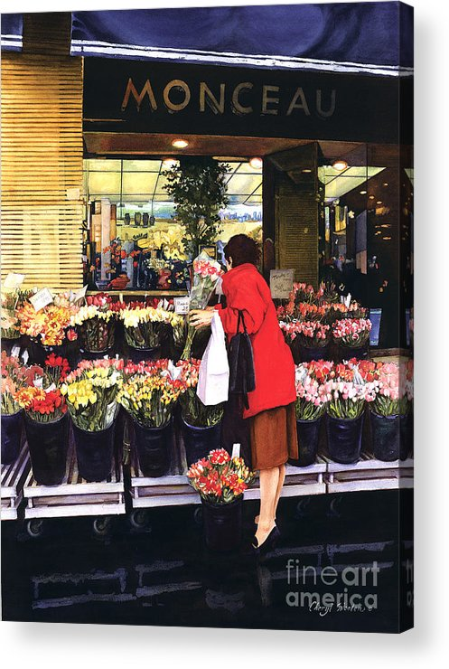 French Flower Shop. Acrylic Print featuring the painting Fleurs Monceau by Cheryl Wooten