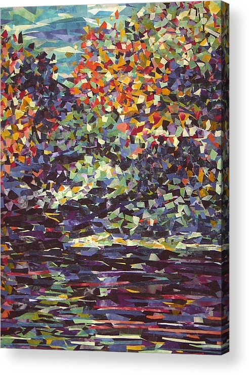 Abstract Landscape Impressionist Textile Acrylic Print featuring the painting Float On by Sally Van Driest