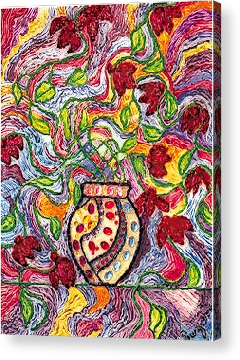 Flowers Acrylic Print featuring the painting Floowers In A Jeweled Vase by Brenda Adams