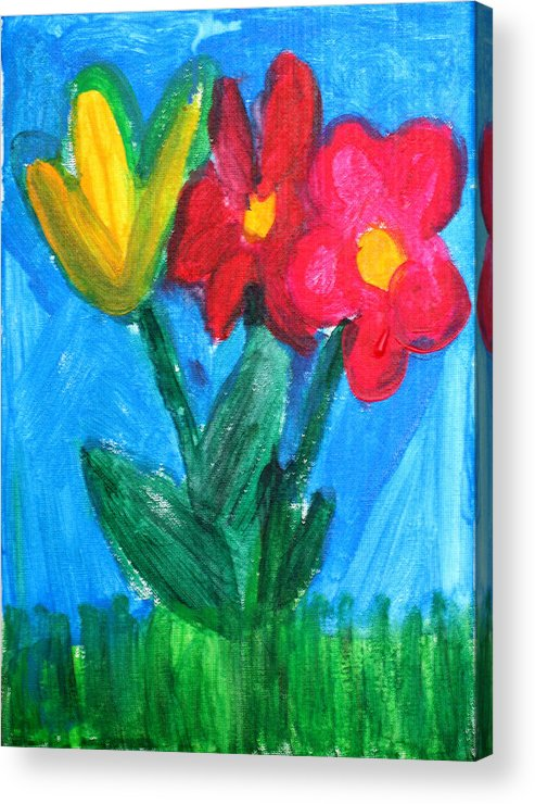Flowers Acrylic Print featuring the painting Flowers by Ann Lyons