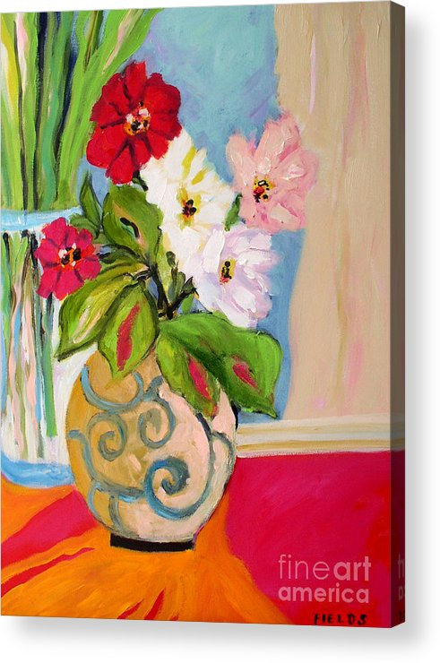 Flowers Acrylic Print featuring the painting Flowers In Vases by Karen Fields