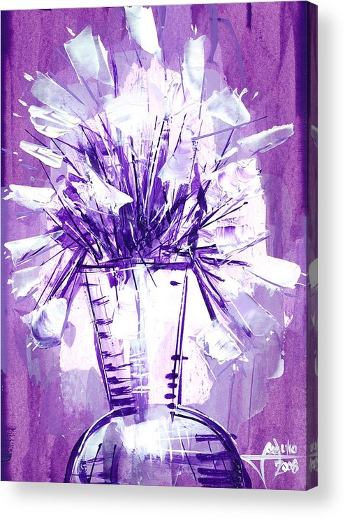 Oil Bristol Paper Abstract Reperesentative Modern Flowers Impresionism Art Painying Acrylic Print featuring the painting Flowery Purple II by Jose Julio Perez