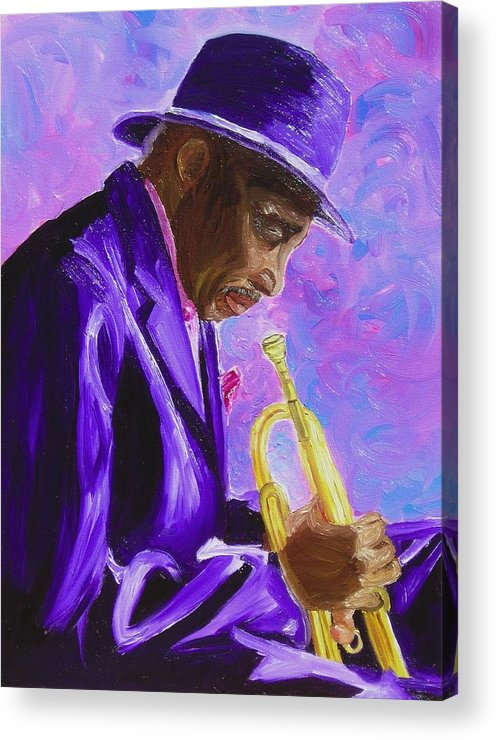 Street Musician Trumpet Player Acrylic Print featuring the painting From The Soul by Michael Lee