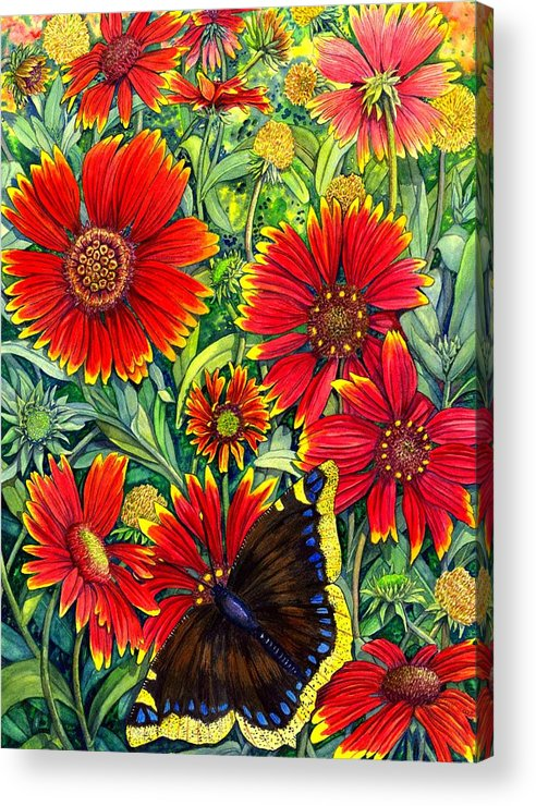 Butterfly Acrylic Print featuring the painting Gaillardia by Catherine G McElroy