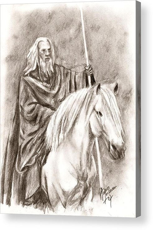 The Lord Of The Rings Acrylic Print featuring the drawing Gandalf With Shadowfax by Maren Jeskanen