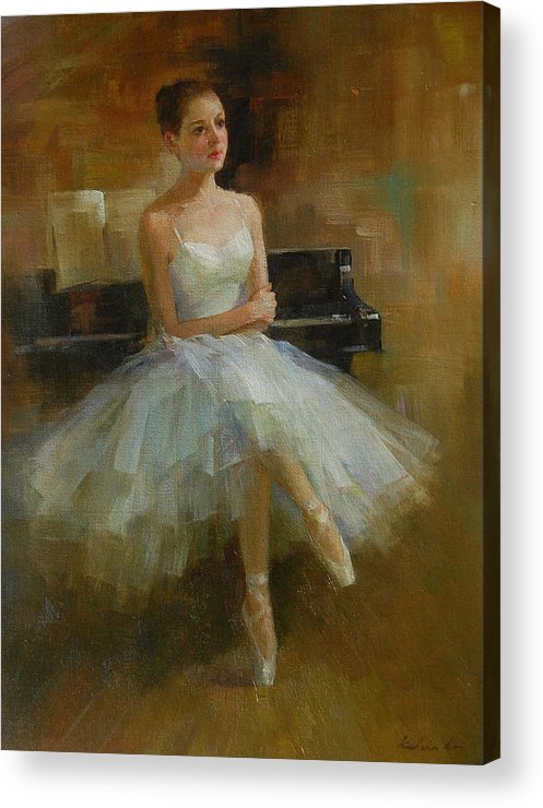 Figurative Painting Acrylic Print featuring the painting Girl And Piano by Kelvin Lei
