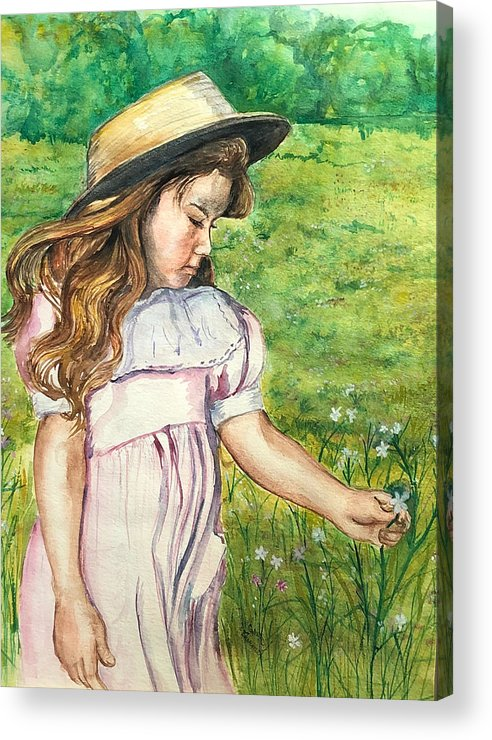 Little Girl Acrylic Print featuring the painting Girl In Straw Hat by Charme Curtin