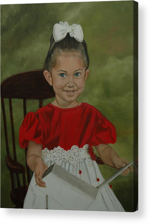 Girl Acrylic Print featuring the painting Girl Reading Book by Tresa Crain
