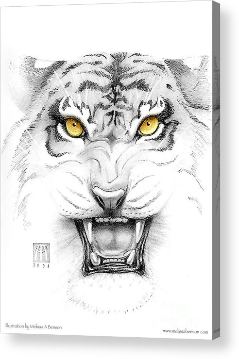 Amber Acrylic Print featuring the digital art Golden Tiger Eyes by Melissa A Benson