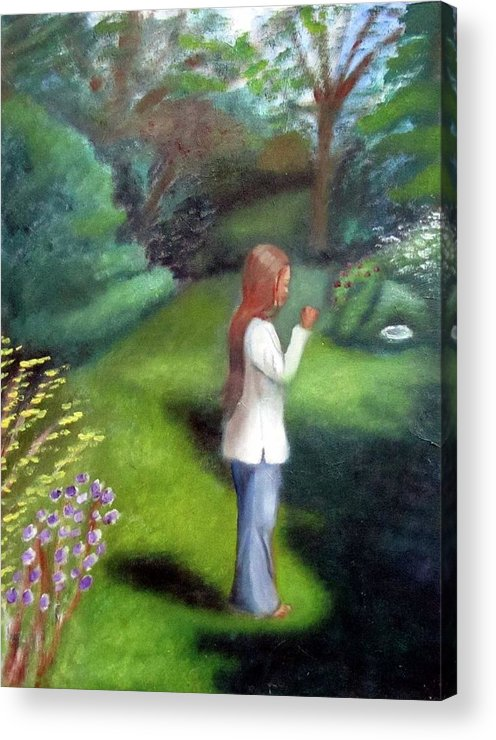 Portrait Acrylic Print featuring the painting Grandmas Garden by Alima Newton