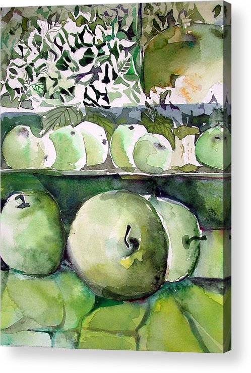 Apple Acrylic Print featuring the painting Granny Smith Apples by Mindy Newman