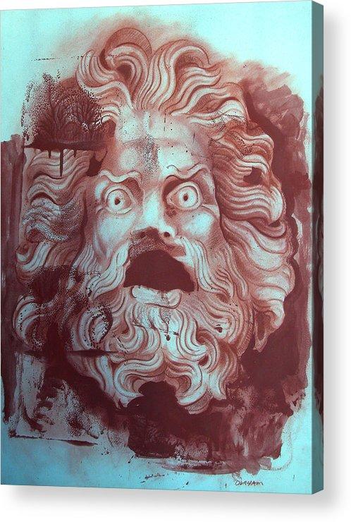 Figure Acrylic Print featuring the digital art Greek Mask by Tom Durham