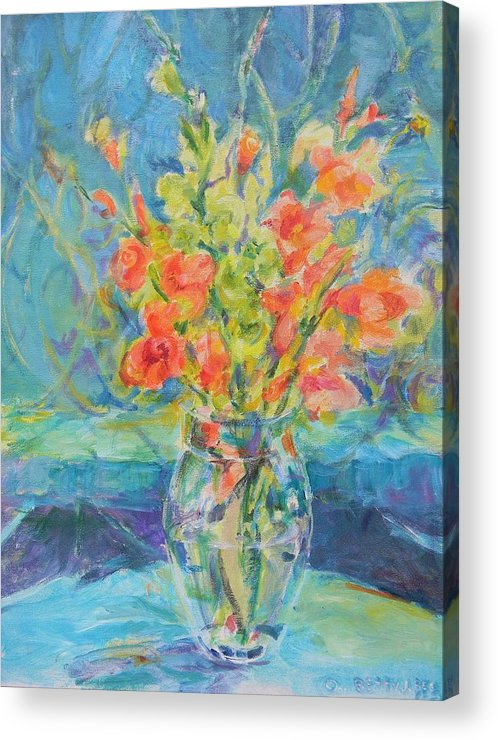 Floral Acrylic Print featuring the painting Green Glads Coral Glads by Betty J Bee