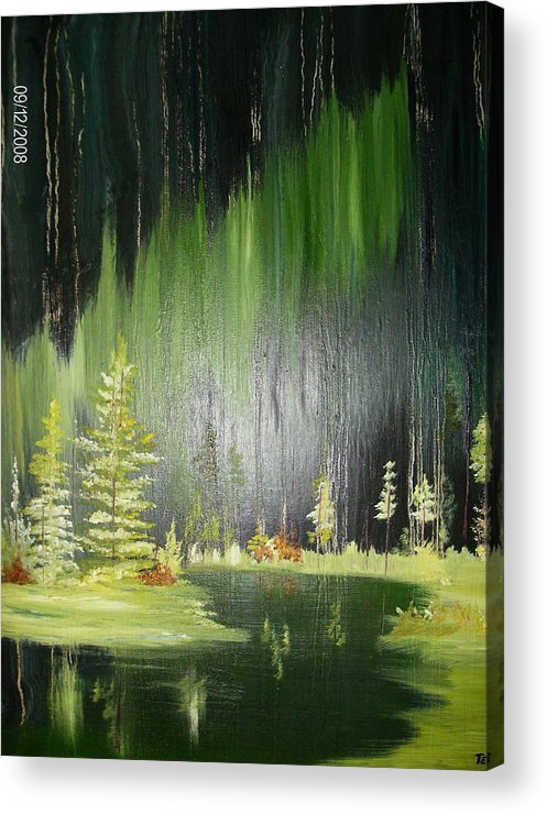 Pine Trees Acrylic Print featuring the painting Green Trees by Terry Lash