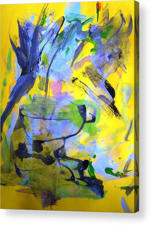 Yellow Acrylic Print featuring the painting Happy Old Bath Tub by Bruce Combs - REACH BEYOND