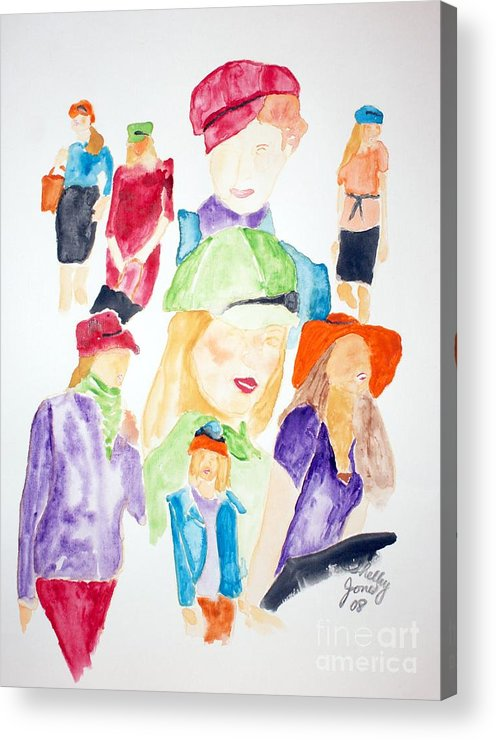 Hats Acrylic Print featuring the painting Hats by Shelley Jones