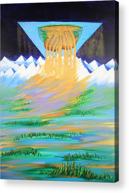 Landscape Acrylic Print featuring the painting Heaven's Overflow by Gary Rowell