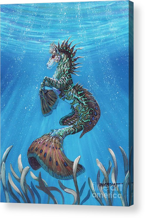 Seahorse Acrylic Print featuring the painting Hippocampus by Stanley Morrison