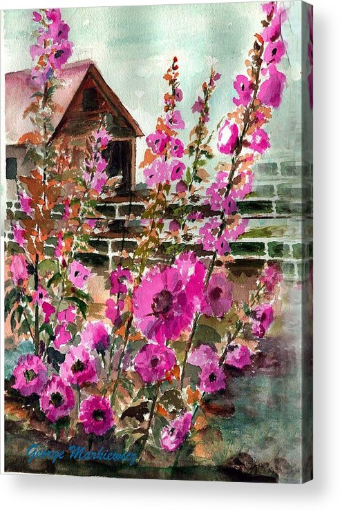 Flowers Acrylic Print featuring the print Hollyhock Barn by George Markiewicz