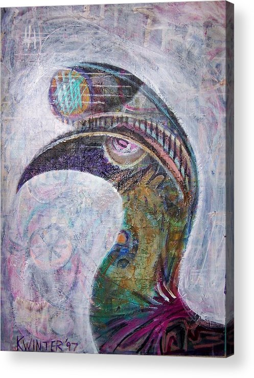 Bird Acrylic Print featuring the mixed media Hornbill by Dave Kwinter