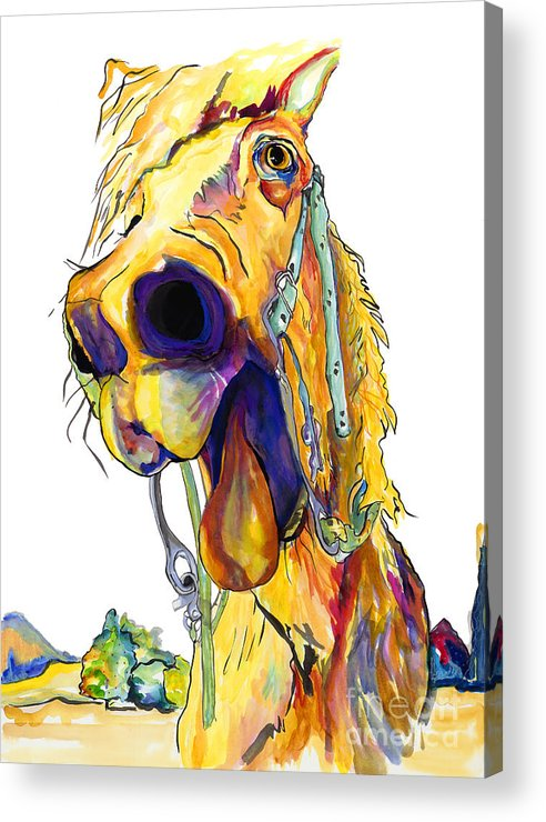 Animal Painting Acrylic Print featuring the painting Horsing Around by Pat Saunders-White