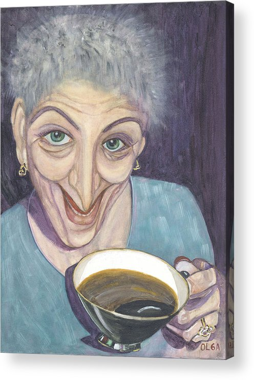 Portrait Acrylic Print featuring the painting I Would Like To Try This One by Olga Alexeeva
