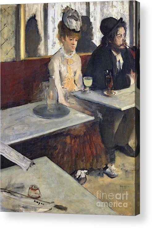 In A Cafe Acrylic Print featuring the painting In A Cafe by Edgar Degas