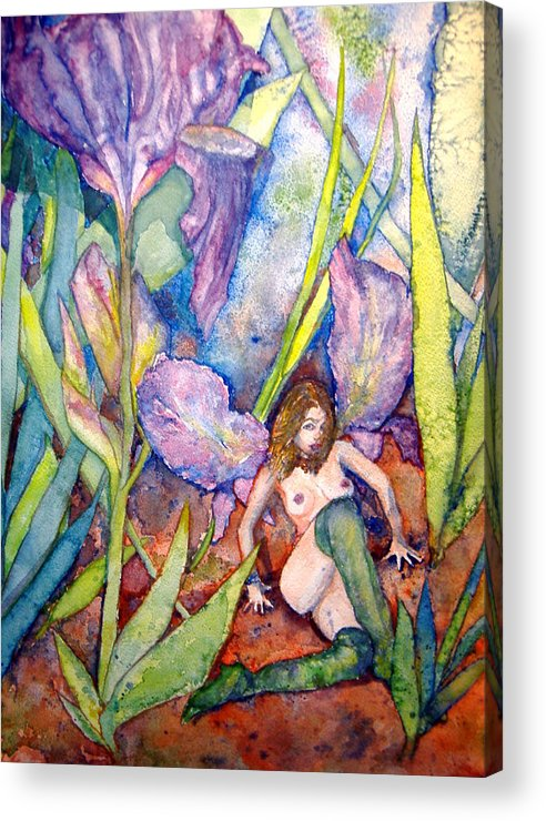 Faerie Acrylic Print featuring the painting Iris Grantor Of Hope Wisdom And Inspiration - Watercolor by Donna Hanna